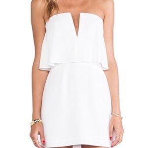 BCBGMaxAzria Kate White Strapless V Mini Dress | 4